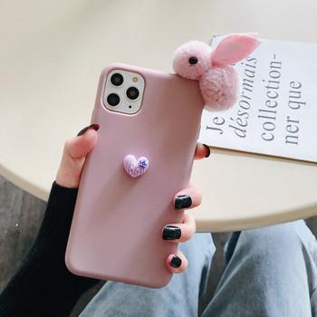Калъф за iPhone 11 Pro Max с плюшен 3D заек
