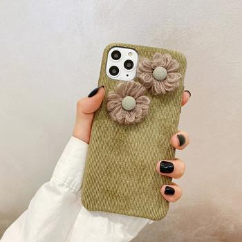 Твърд калъф с 3D елемент цвете за iPhone 11 Pro Max в зелен цвят