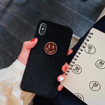 Плюшен твърд калъф с 3D усмивка за iPhone XS в черен цвят