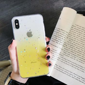 Силиконов калъф с преливащи цветове и лъскави частици за iPhone XS