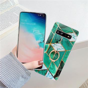 Силиконов калъф в зелен цвят с пръстен  за Samsung S10