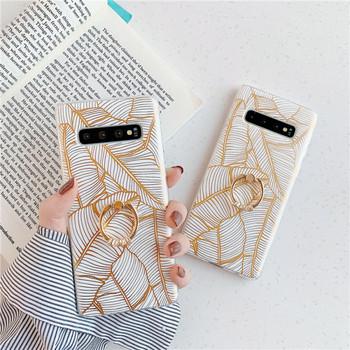 Калъф за Samsung S10 с листа и метален пръстен