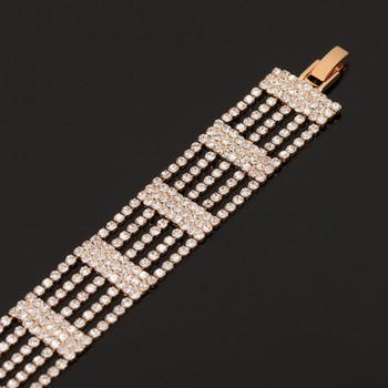 НОВ модел дамска гривна златиста и сребриста с камъни
