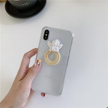 Прозрачен калъф с 3D елемент ангел за iPhone XS  - два модела