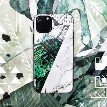 Калъф за iPhone 11 Pro Max с мраморен ефект и листа - два модела