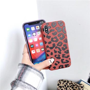 Силиконов калъф с леопардов десен за iPhone XS