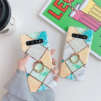 Силиконов калъф с мраморен ефект и геометрични фигури за Samsung S10
