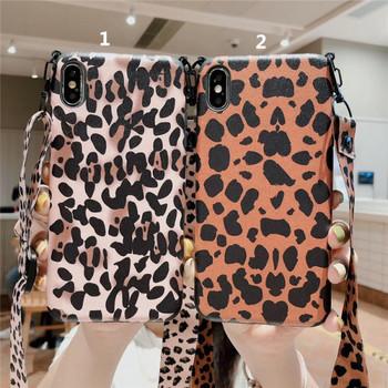 Калъф за  iPhone XS  с леопардов десен + дръжка