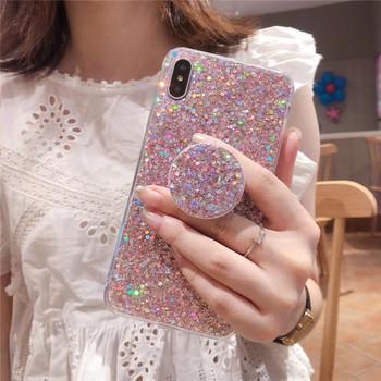 Силиконов калъф за  iPhone XS  с лъскави частици + държач