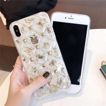 Прозрачен силиконов калъф за  iPhone XS  с метални елементи