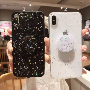 Силиконов калъф с лъскави частици и звезди за  iPhone XS
