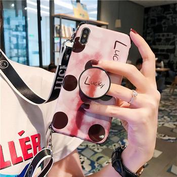 Калъф за  iPhone XS  с надпис Lucky  и дръжка - два модела