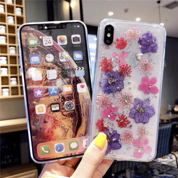 Силиконов калъф с цветя за  iPhone XS