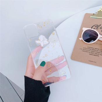 Калъф за  iPhone XS  с 3D ангел и златни частици