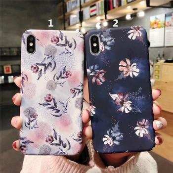Твърд калъф за  iPhone XS  с цветя - два модела