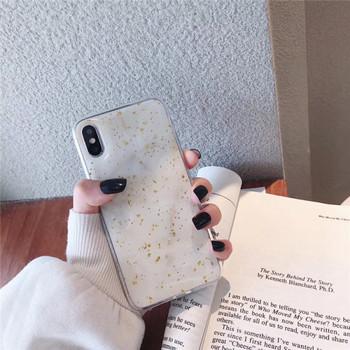 Калъф с мраморен ефект и лъскави златни частици за  iPhone XS