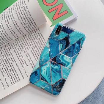 Калъф за  iPhone XS  в син цвят и мраморен ефект