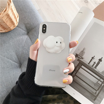 Прозрачен калъф с 3D елемент облак за  iPhone XS