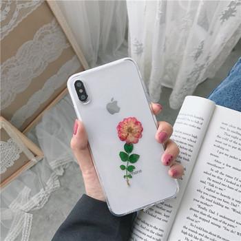 Прозрачен силиконов калъф с цвете за  iPhone XS
