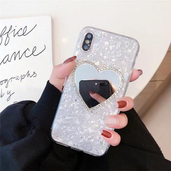 Силиконов калъф за iPhone XS с огледало във формата на сърце