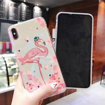 Силиконов калъф с фламинко за iPhone XS - два модела