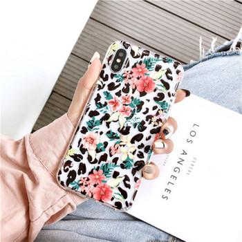 Калъф за iPhone XS с леопардов десен и цветя - два модела