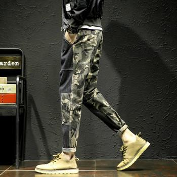 Нов модел двуцветни мъжки дънки с камуфлажен десен и размери до 5XL