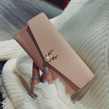 Дамски портфейл  от еко кожа с метално закопчаване