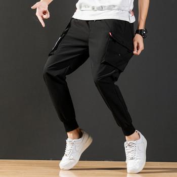 Модерен мъжки панталон с джобове и връзки