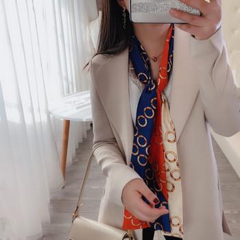 Пролетен сатенен дамски шал с цветен десен