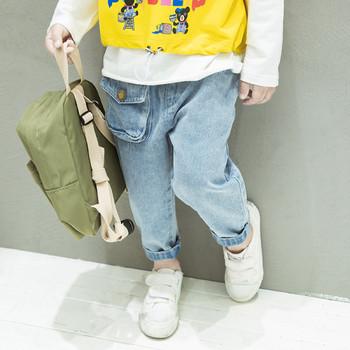 Пролетни детски дънки за момчета с еластична талия и джоб