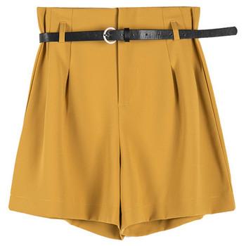 Нов модел къси дамски панталони с колан и джобове