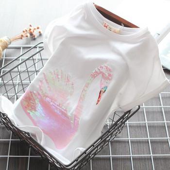 Модерна детска тениска с къс ръкав и пайети за момичета
