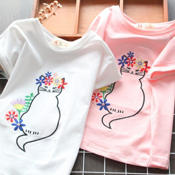 Модерна детска тениска с бродерия и къс ръкав