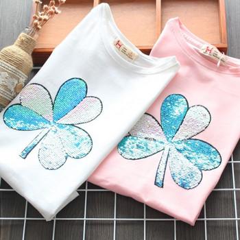 Ежедневна детска тениска за момичета с пайети и къс ръкав