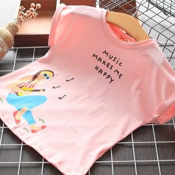 Нов модел детска тениска с щампа и овално деколте за момичета