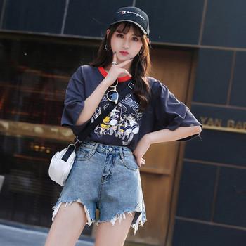 Модерни къси дамски панталони със скъсани мотиви