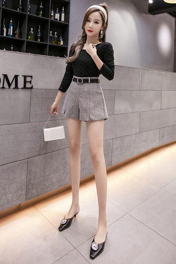 Стилни къси дамски панталони изчистен модел с висока талия