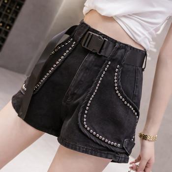 Дамски модерни къси панталони с метални елементи
