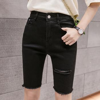 Дамски панталони 3/4 дължина със стандартна талия и скъсани мотиви