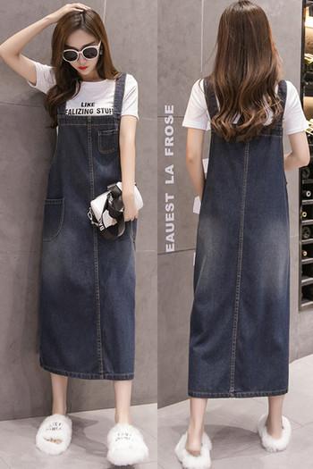 Ежедневна дамска дълга дънкова рокля с презрамки и джоб
