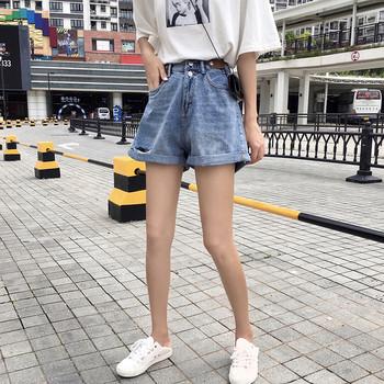 Къси дънкови панталони широк модел с висока талия и скъсани мотиви