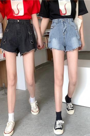 Къси дамски дънкови панталони с висока талия