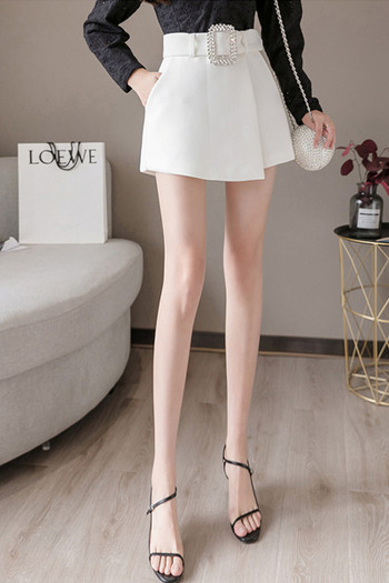 Къси дамски  панталони с висока талия и колан