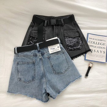 Модерни къси дънкови панталони с висока талия и пайети
