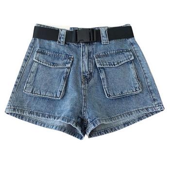 Къси дънкови панталони в ретро стил с висока талия и джобове