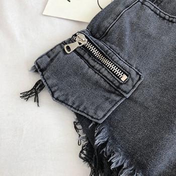 Нов модел къси дамски панталони с висока талия, джобове и скъсани мотиви