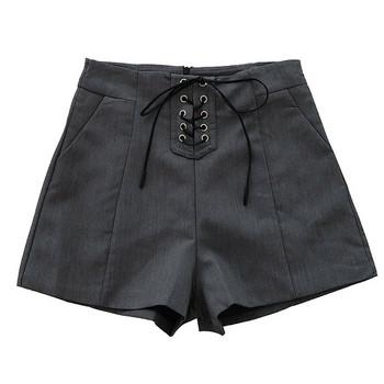 Модерни дамски къси панталони с висока талия и кръстосани връзки