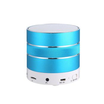 Мини преносима Bluetooth тонколона с алуминиев корпус, слот за TF карта, FM, Handsfree и USB порт в син цвят