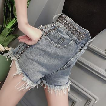 Нов модел къси дънкови панталони с висока талия, скъсани мотиви и метални капси